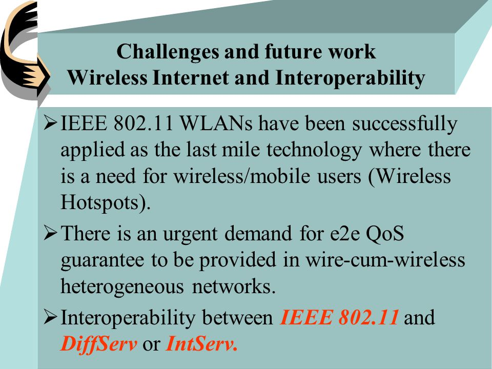 Challenges and future work Wireless Internet and Interoperability  IEEE 802.11 WLANs have been successfully applied as the last mile technology where there is a need for wireless/mobile users (Wireless Hotspots).