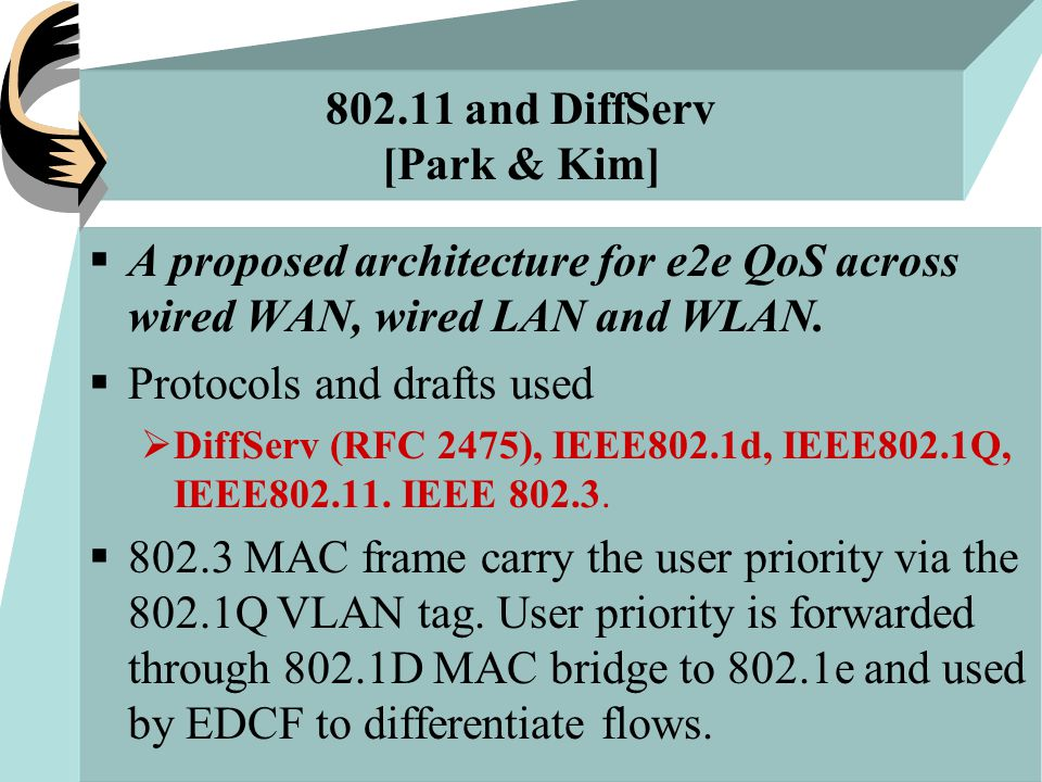 802.11 and DiffServ [Park & Kim]  A proposed architecture for e2e QoS across wired WAN, wired LAN and WLAN.