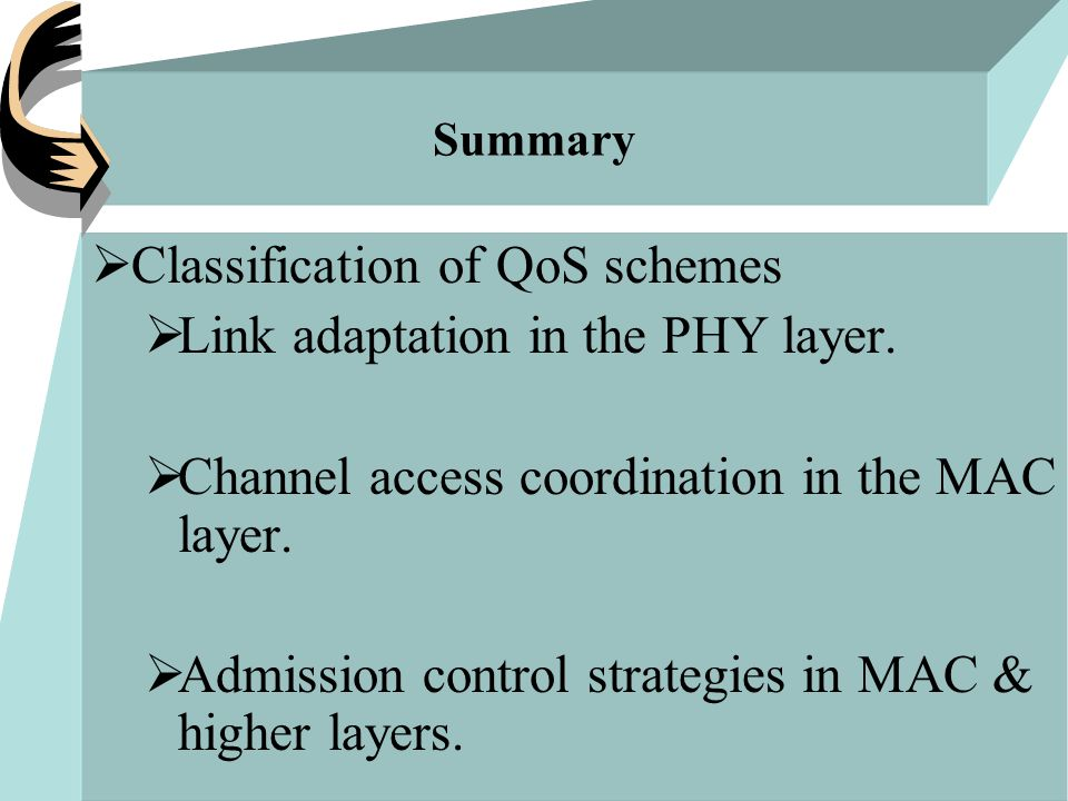Summary  Classification of QoS schemes  Link adaptation in the PHY layer.