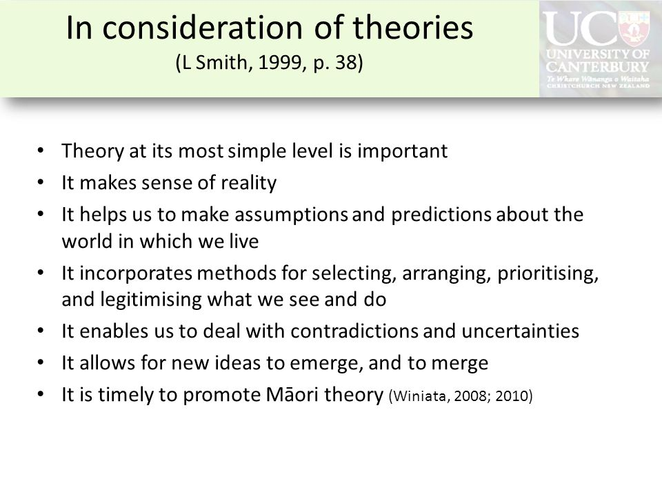 In consideration of theories (L Smith, 1999, p. 38) Theory at its most simple level is important It makes sense of reality It helps us to make assumpt