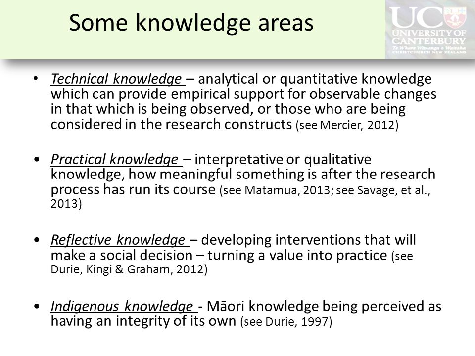 Some knowledge areas Technical knowledge – analytical or quantitative knowledge which can provide empirical support for observable changes in that whi