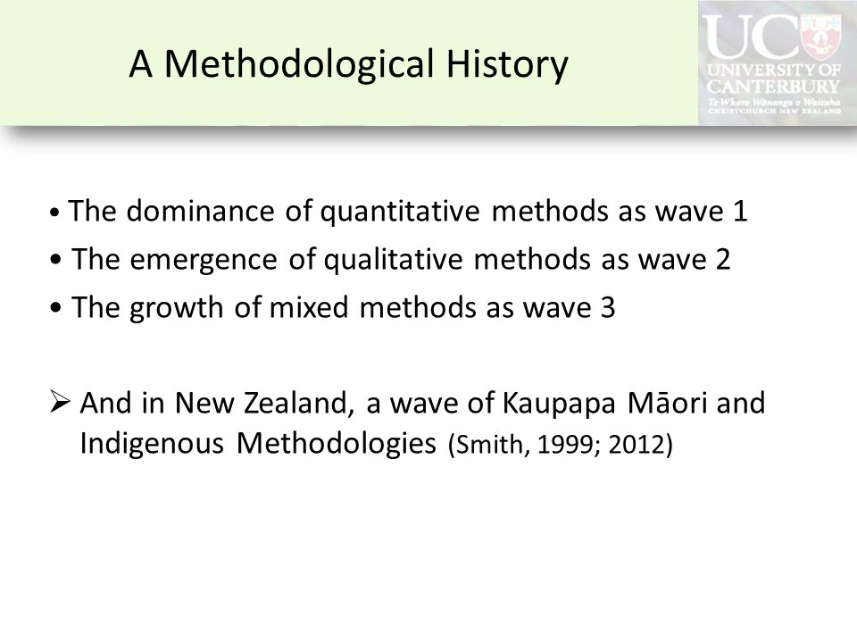 A Methodological History The dominance of quantitative methods as wave 1 The emergence of qualitative methods as wave 2 The growth of mixed methods as