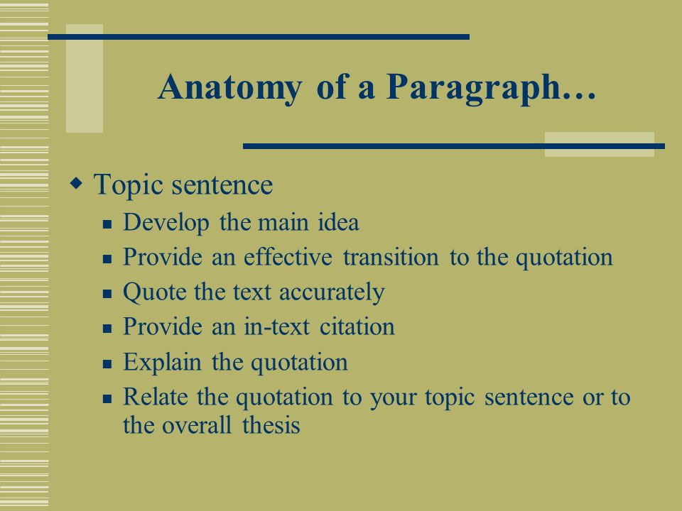 Anatomy of a Paragraph…  Topic sentence Develop the main idea Provide an effective transition to the quotation Quote the text accurately Provide an in-text citation Explain the quotation Relate the quotation to your topic sentence or to the overall thesis