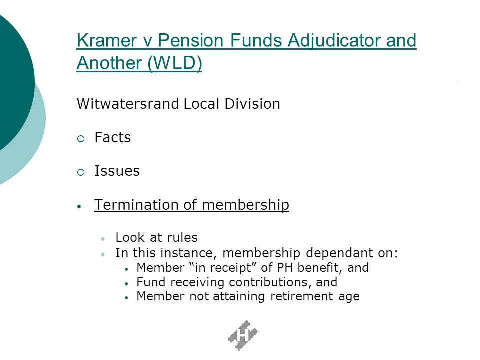 Kramer v Pension Funds Adjudicator and Another (WLD) (cont) Held that in receipt of meant actual receipt.