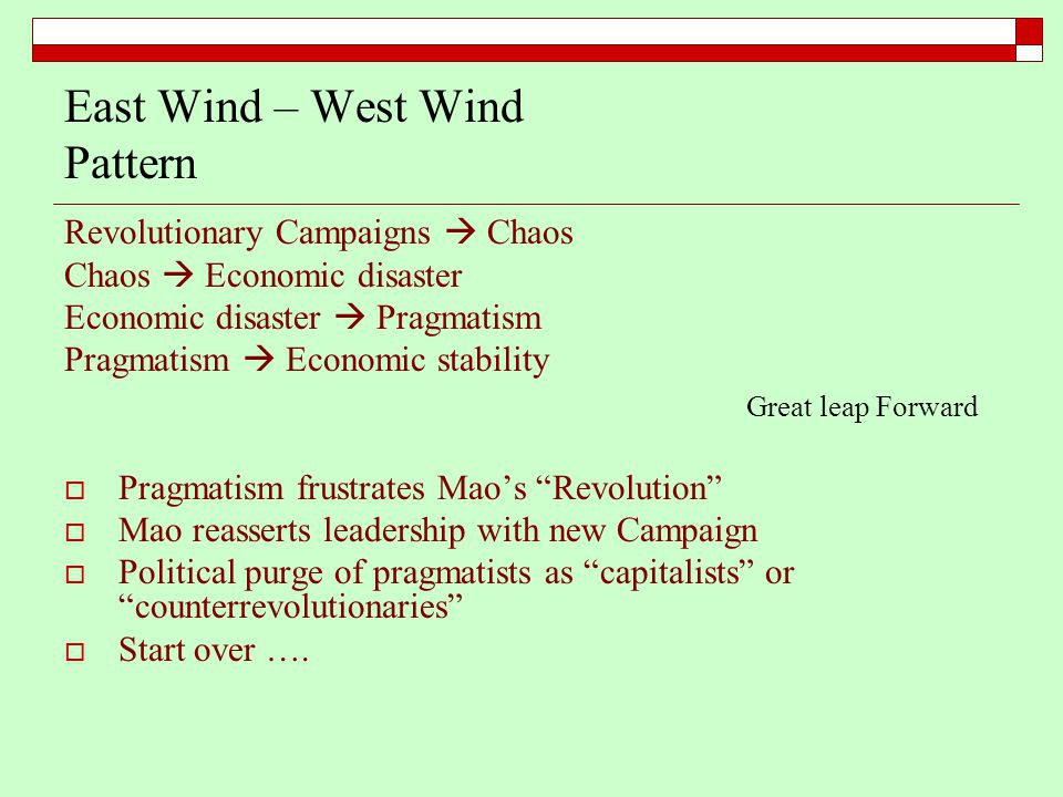 East Wind – West Wind Pattern Revolutionary Campaigns  Chaos Chaos  Economic disaster Economic disaster  Pragmatism Pragmatism  Economic stability  Pragmatism frustrates Mao's Revolution  Mao reasserts leadership with new Campaign  Political purge of pragmatists as capitalists or counterrevolutionaries  Start over ….