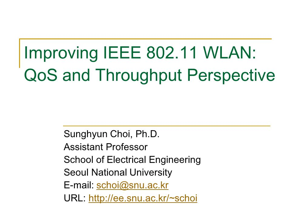 32 Concluding Remarks IEEE 802.11 WLAN is becoming real popular these days There is still a big room to improve the current 802.11 systems Important to consider how any improved system co-exists with legacy systems