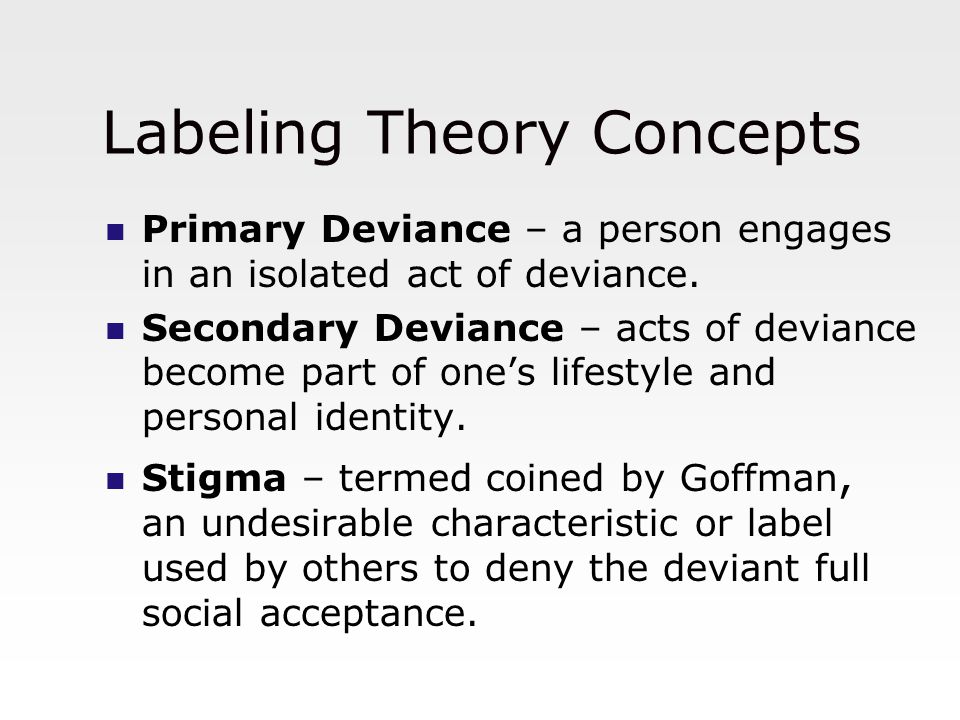 Mental Illness and Labeling Theory Labeling theory views mental illness as the result of social interaction in which others respond to us and we imagine what those responses mean.