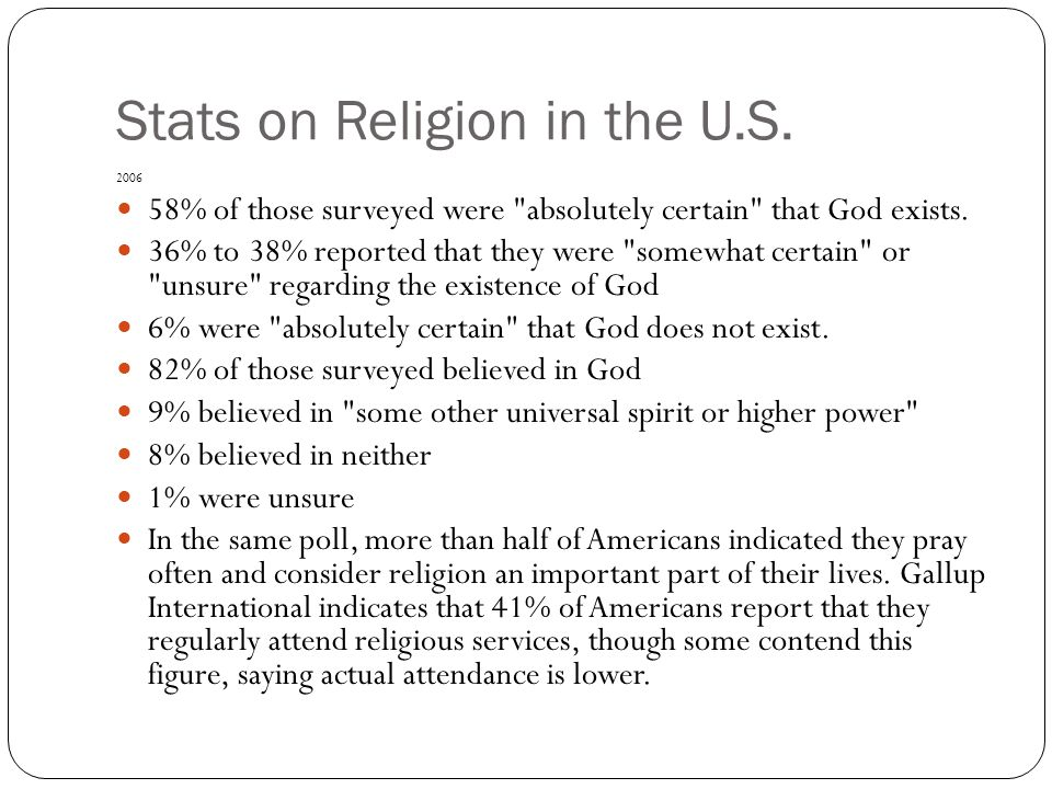 Stats on Religion in the U.S. 2006 58% of those surveyed were