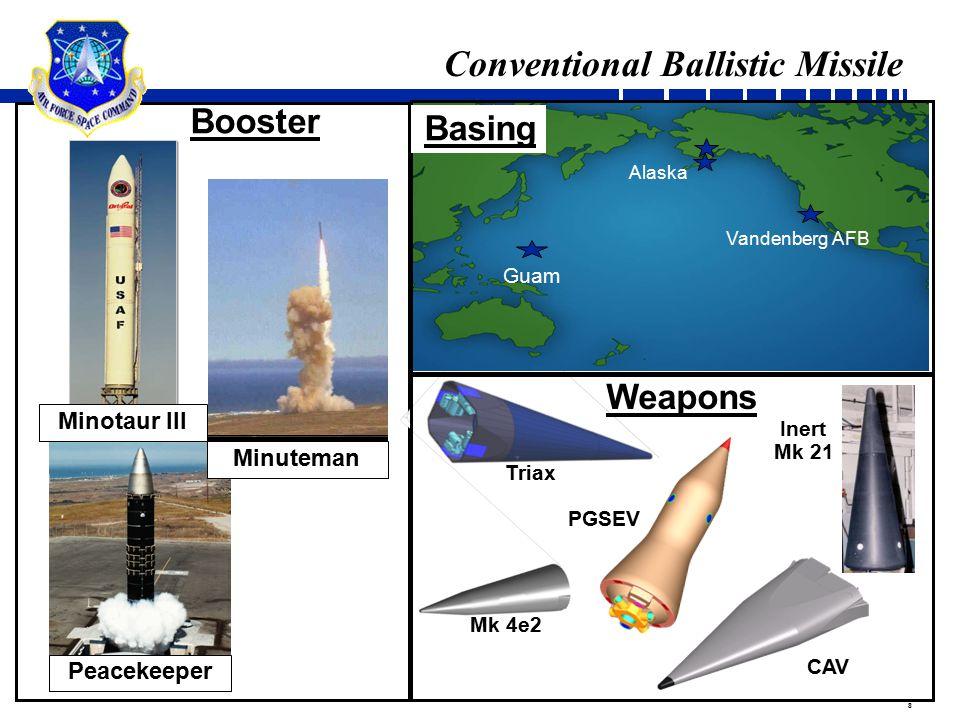 8 Conventional Ballistic Missile Booster Weapons Guam Alaska Vandenberg AFB Basing Triax Inert Mk 21 Peacekeeper Minuteman CAV PGSEV Mk 4e2 Minotaur I