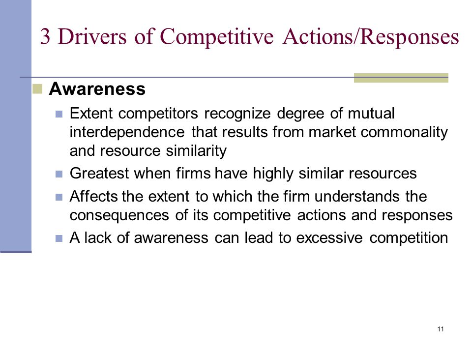 11 3 Drivers of Competitive Actions/Responses Awareness Extent competitors recognize degree of mutual interdependence that results from market commonality and resource similarity Greatest when firms have highly similar resources Affects the extent to which the firm understands the consequences of its competitive actions and responses A lack of awareness can lead to excessive competition