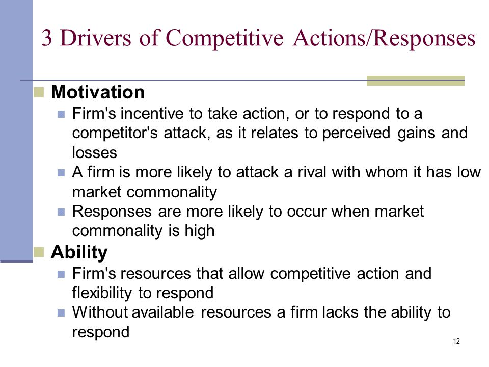 12 3 Drivers of Competitive Actions/Responses Motivation Firm's incentive to take action, or to respond to a competitor's attack, as it relates to per