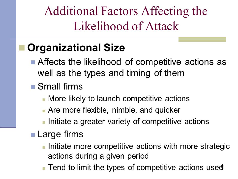14 Additional Factors Affecting the Likelihood of Attack Organizational Size Affects the likelihood of competitive actions as well as the types and timing of them Small firms More likely to launch competitive actions Are more flexible, nimble, and quicker Initiate a greater variety of competitive actions Large firms Initiate more competitive actions with more strategic actions during a given period Tend to limit the types of competitive actions used