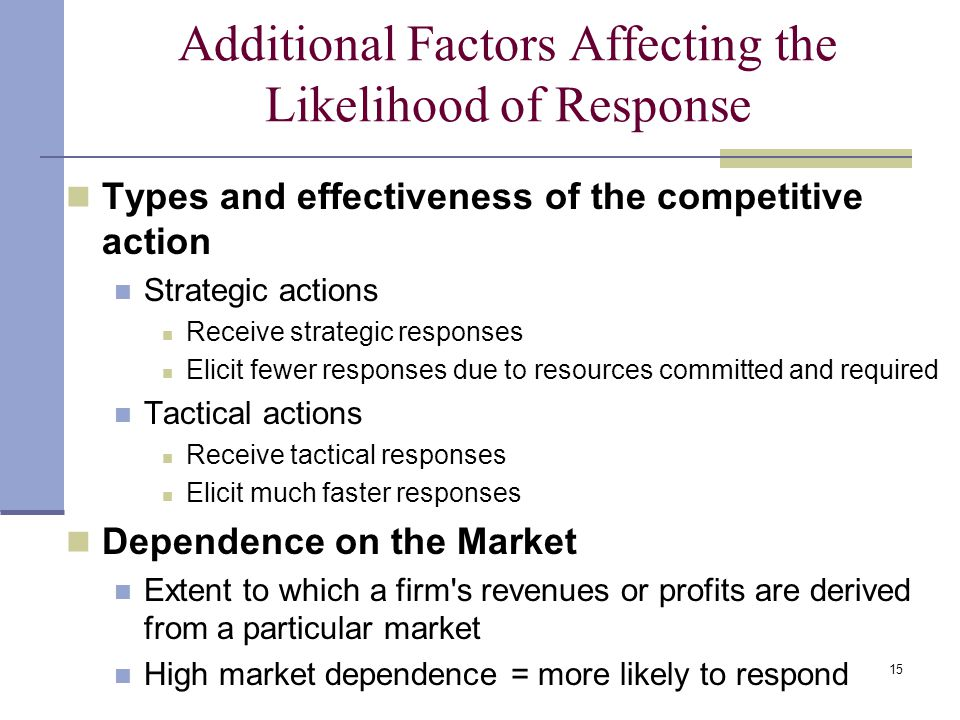 15 Additional Factors Affecting the Likelihood of Response Types and effectiveness of the competitive action Strategic actions Receive strategic responses Elicit fewer responses due to resources committed and required Tactical actions Receive tactical responses Elicit much faster responses Dependence on the Market Extent to which a firm s revenues or profits are derived from a particular market High market dependence = more likely to respond