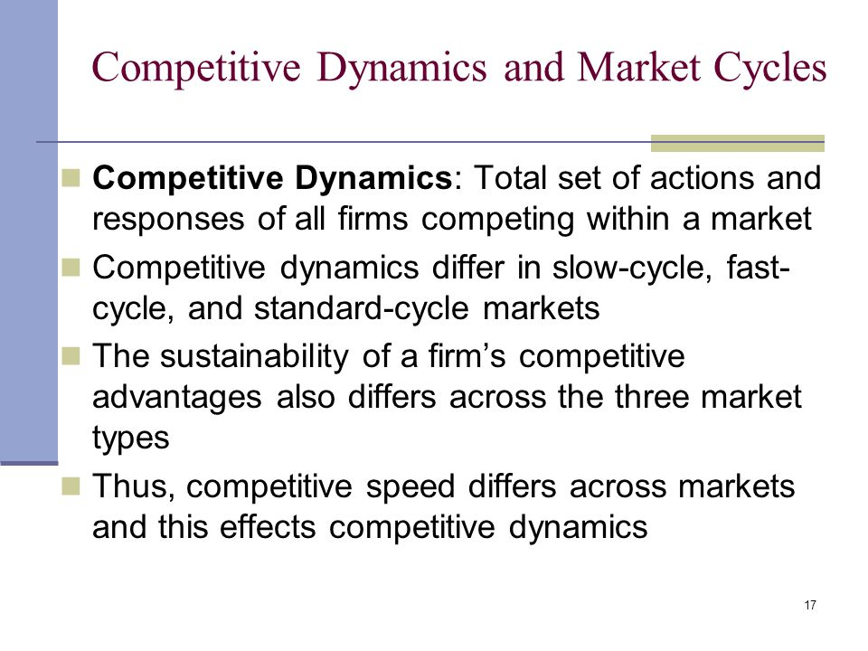 17 Competitive Dynamics and Market Cycles Competitive Dynamics: Total set of actions and responses of all firms competing within a market Competitive dynamics differ in slow-cycle, fast- cycle, and standard-cycle markets The sustainability of a firm's competitive advantages also differs across the three market types Thus, competitive speed differs across markets and this effects competitive dynamics