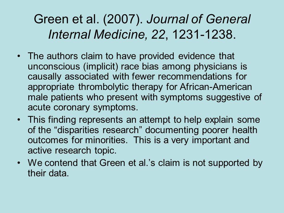 Green et al. (2007). Journal of General Internal Medicine, 22, 1231-1238.
