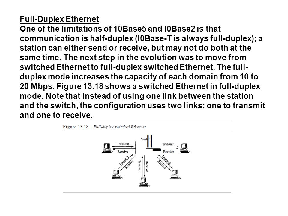 Full-Duplex Ethernet One of the limitations of 10Base5 and l0Base2 is that communication is half-duplex (l0Base-T is always full-duplex); a station can either send or receive, but may not do both at the same time.