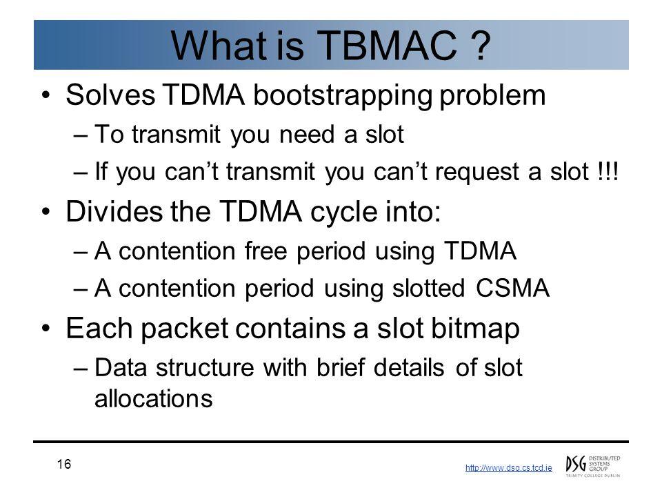 http://www.dsg.cs.tcd.ie 16 What is TBMAC .