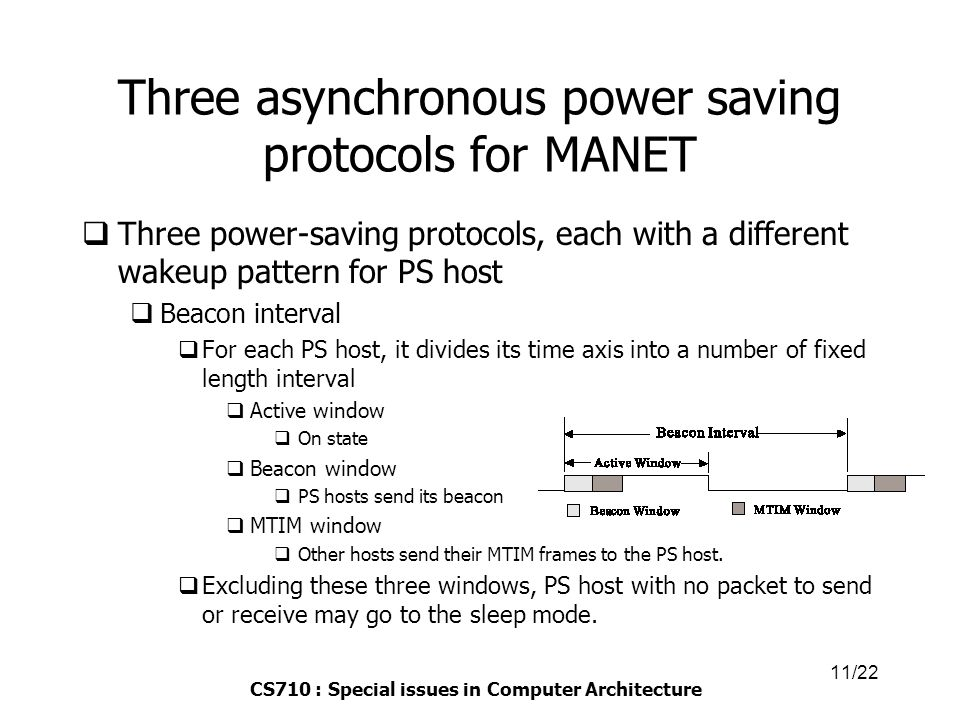 CS710 : Special issues in Computer Architecture 11/22 Three asynchronous power saving protocols for MANET  Three power-saving protocols, each with a different wakeup pattern for PS host  Beacon interval  For each PS host, it divides its time axis into a number of fixed length interval  Active window  On state  Beacon window  PS hosts send its beacon  MTIM window  Other hosts send their MTIM frames to the PS host.