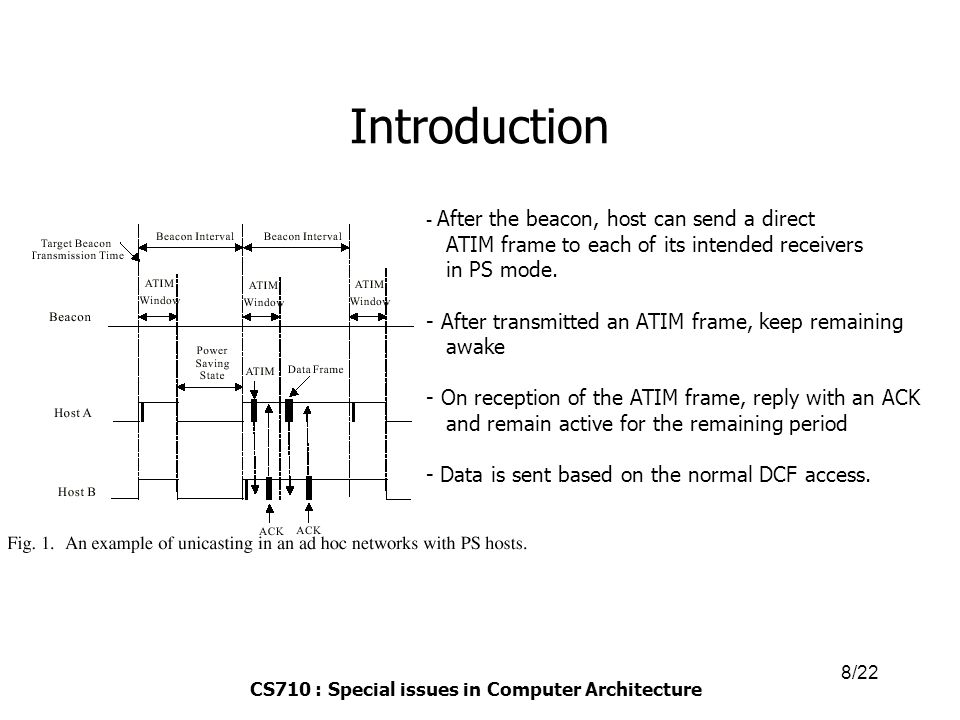 CS710 : Special issues in Computer Architecture 9/22 Introduction  Problem statement  PS mode of 802.11 is designed for single hop(fully connected) ad hoc network.