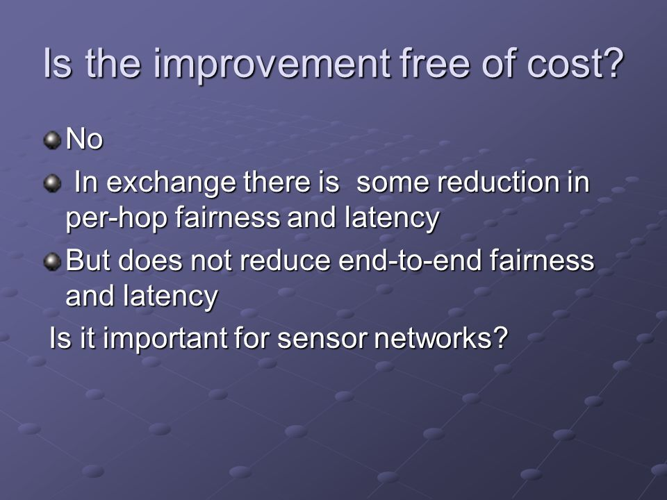 Is the improvement free of cost.