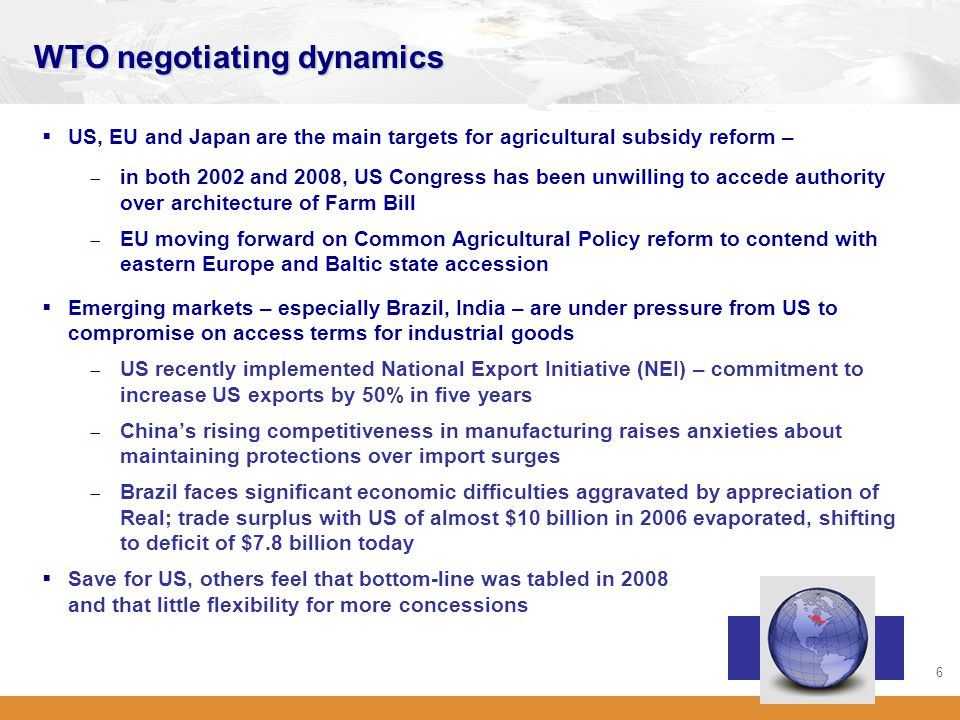 6 WTO negotiating dynamics  US, EU and Japan are the main targets for agricultural subsidy reform –  in both 2002 and 2008, US Congress has been unw