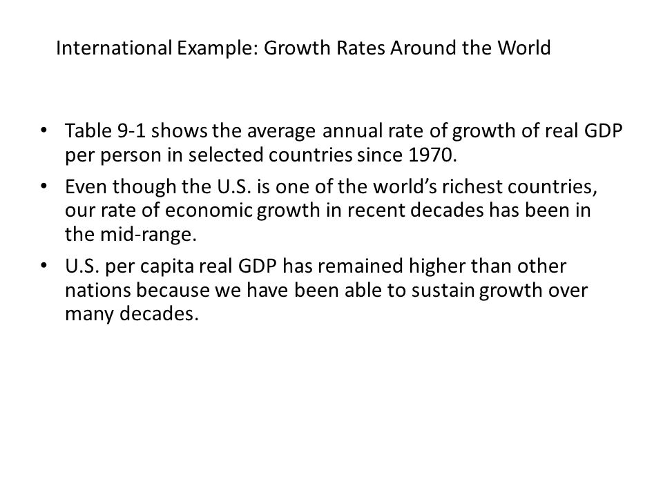 International Example: Growth Rates Around the World Table 9-1 shows the average annual rate of growth of real GDP per person in selected countries si