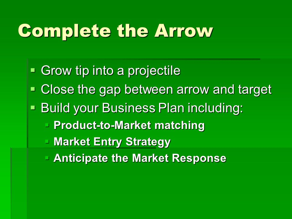 Complete the Arrow  Grow tip into a projectile  Close the gap between arrow and target  Build your Business Plan including:  Product-to-Market matching  Market Entry Strategy  Anticipate the Market Response