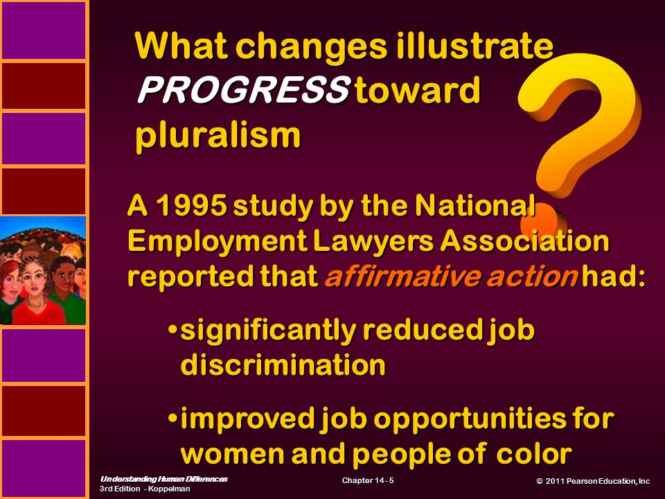 © 2011 Pearson Education, Inc © 2011 Pearson Education, Inc Understanding Human Differences 3rd Edition - Koppelman Chapter 14 - 5 What changes illustrate PROGRESS toward pluralism A 1995 study by the National Employment Lawyers Association reported that affirmative action had: significantly reduced job discriminationsignificantly reduced job discrimination improved job opportunities for women and people of colorimproved job opportunities for women and people of color