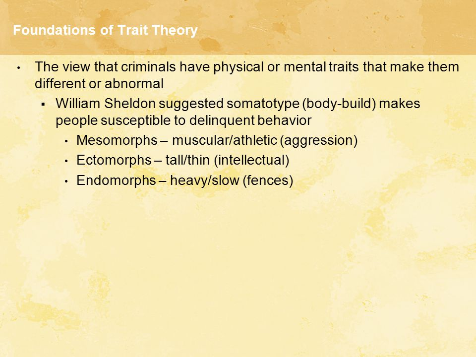 Biological Trait Theories Evaluation of the Biological Branch of Trait Theory  Critics charge biological theories are racist and dysfunctional Do not explain population differences  Biological explanations do not account for geographical variations in crime  Lack of empirical testing