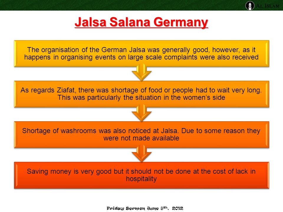 Jalsa Salana Germany Saving money is very good but it should not be done at the cost of lack in hospitality Shortage of washrooms was also noticed at
