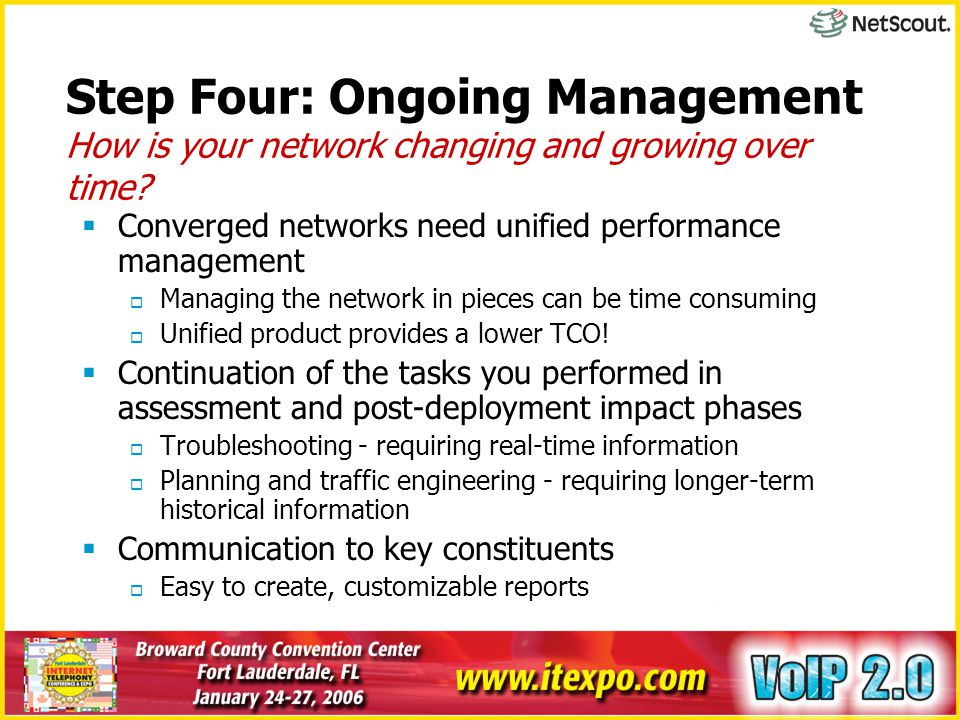 Step Four: Ongoing Management How is your network changing and growing over time?  Converged networks need unified performance management  Managing