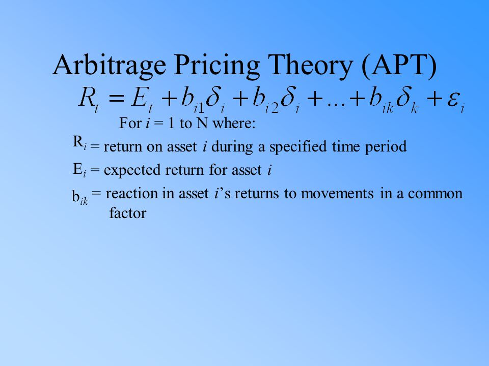 Arbitrage Pricing Theory (APT) For i = 1 to N where: = return on asset i during a specified time period = expected return for asset i = reaction in asset i's returns to movements in a common factor R i E i b ik