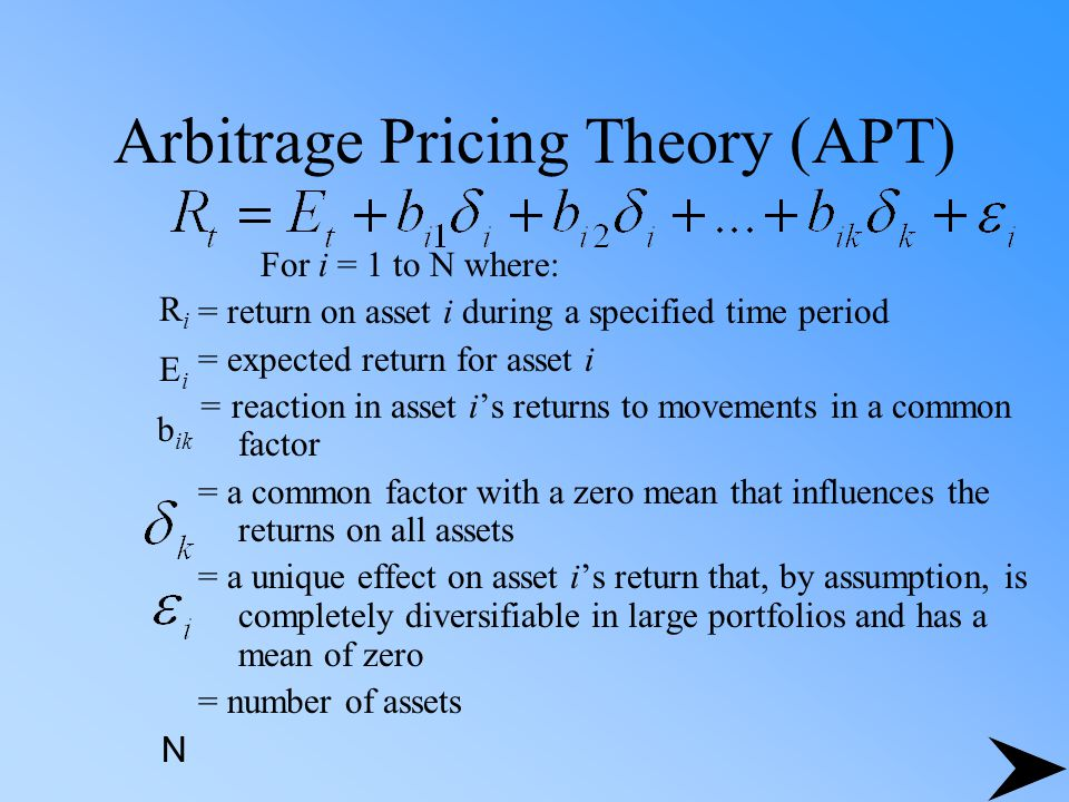 Arbitrage Pricing Theory (APT) For i = 1 to N where: = return on asset i during a specified time period = expected return for asset i = reaction in as