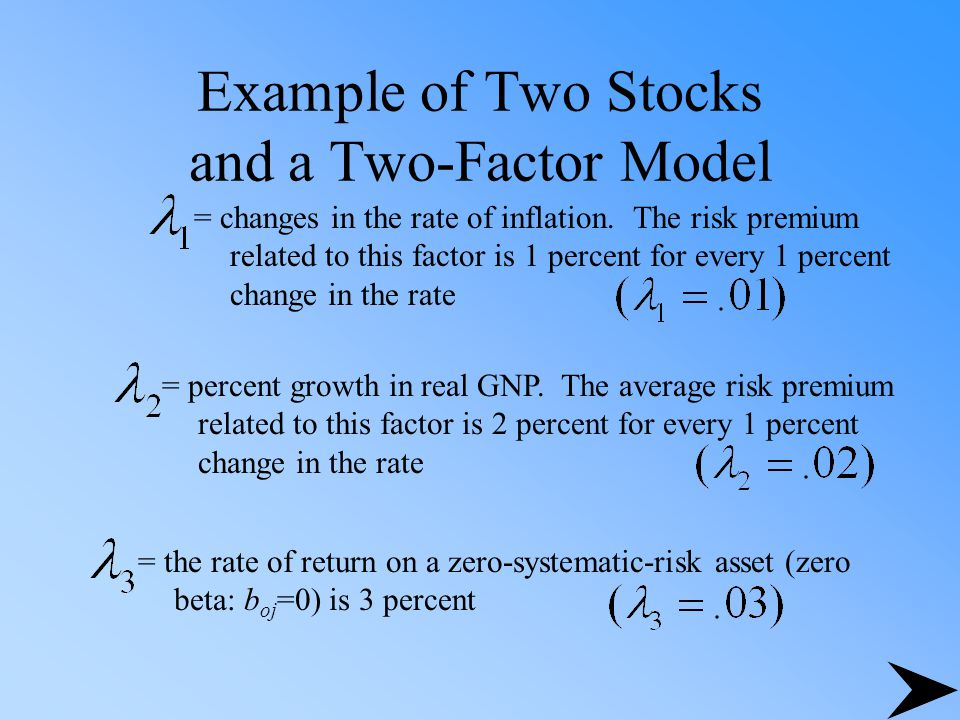 Example of Two Stocks and a Two-Factor Model = changes in the rate of inflation. The risk premium related to this factor is 1 percent for every 1 perc