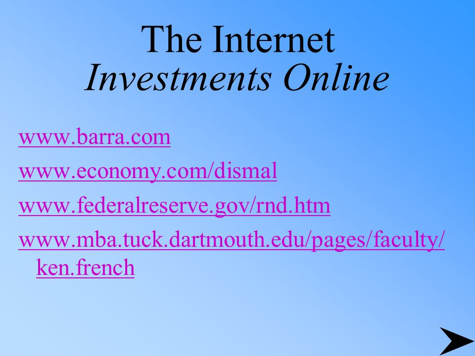 The Internet Investments Online www.barra.com www.economy.com/dismal www.federalreserve.gov/rnd.htm www.mba.tuck.dartmouth.edu/pages/faculty/ ken.french
