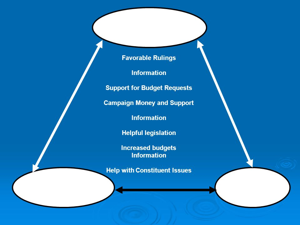 Interest Group Bureaucracy Congressional Subcommittee Favorable Rulings Information Support for Budget Requests Campaign Money and Support Information Helpful legislation Increased budgets Information Help with Constituent Issues