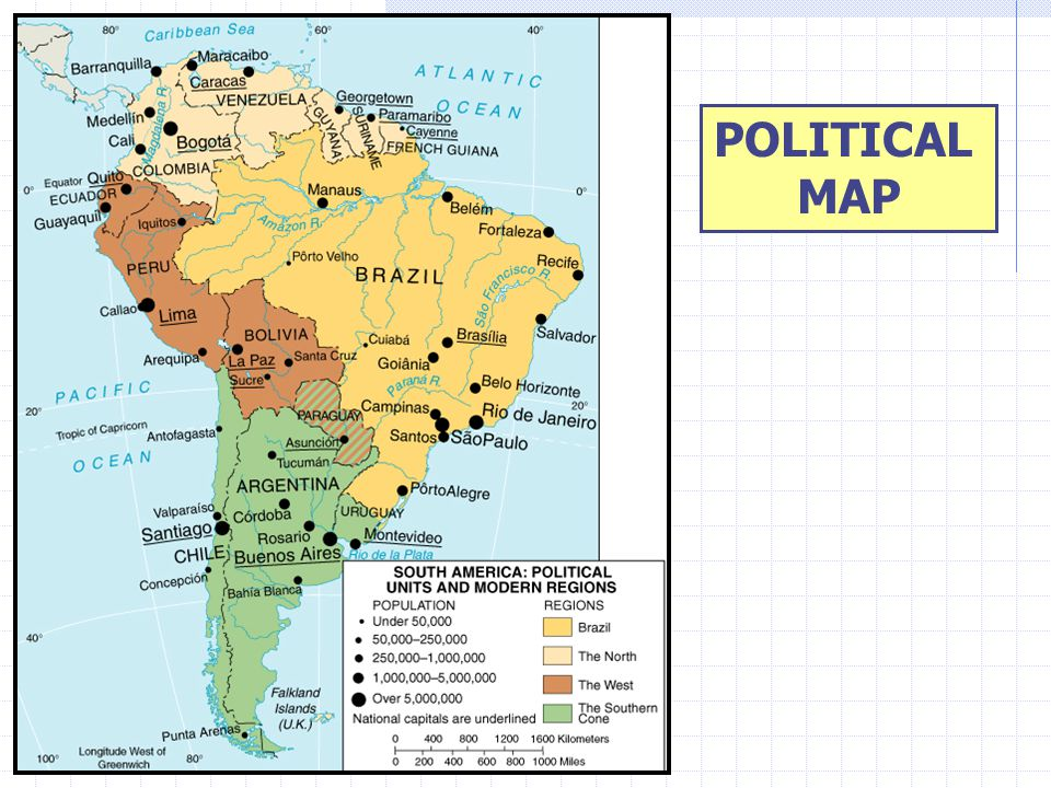 SOUTH AMERICA POLITICAL MAP REGIONS OF THE REALM Brazil Caribbean