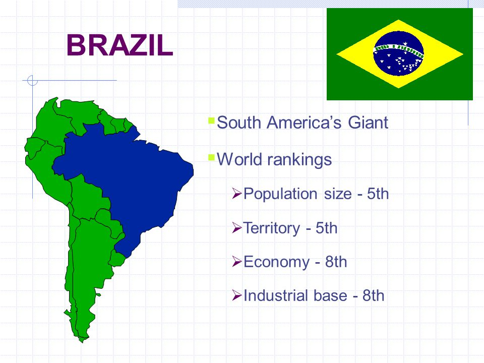 BRAZIL  South America's Giant  World rankings  Population size - 5th  Territory - 5th  Economy - 8th  Industrial base - 8th