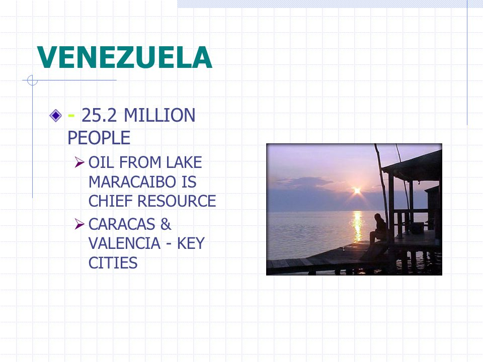 VENEZUELA - 25.2 MILLION PEOPLE  OIL FROM LAKE MARACAIBO IS CHIEF RESOURCE  CARACAS & VALENCIA - KEY CITIES