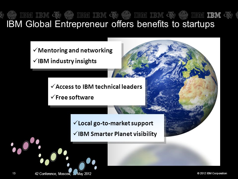 © 2012 IBM Corporation 42 Conference, Moscow, 28 May 2012 13 IBM Global Entrepreneur offers benefits to startups Mentoring and networking IBM industry insights Mentoring and networking IBM industry insights Local go-to-market support IBM Smarter Planet visibility Local go-to-market support IBM Smarter Planet visibility Access to IBM technical leaders Free software Access to IBM technical leaders Free software