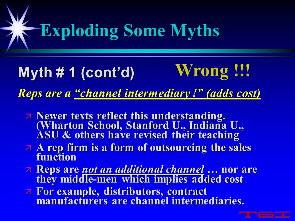 Exploding Some Myths ä Newer texts reflect this understanding. (Wharton School, Stanford U., Indiana U., ASU & others have revised their teaching ä A