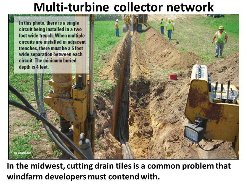 In the midwest, cutting drain tiles is a common problem that windfarm developers must contend with.