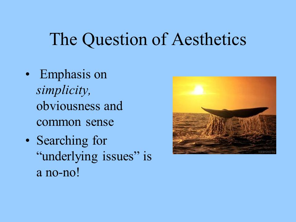 "The Question of Aesthetics Emphasis on simplicity, obviousness and common sense Searching for ""underlying issues"" is a no-no!"