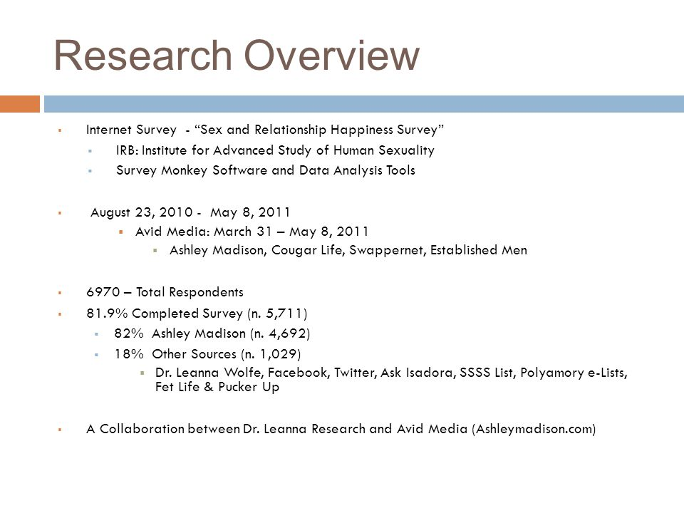 "Research Overview  Internet Survey - ""Sex and Relationship Happiness Survey""  IRB: Institute for Advanced Study of Human Sexuality  Survey Monkey S"