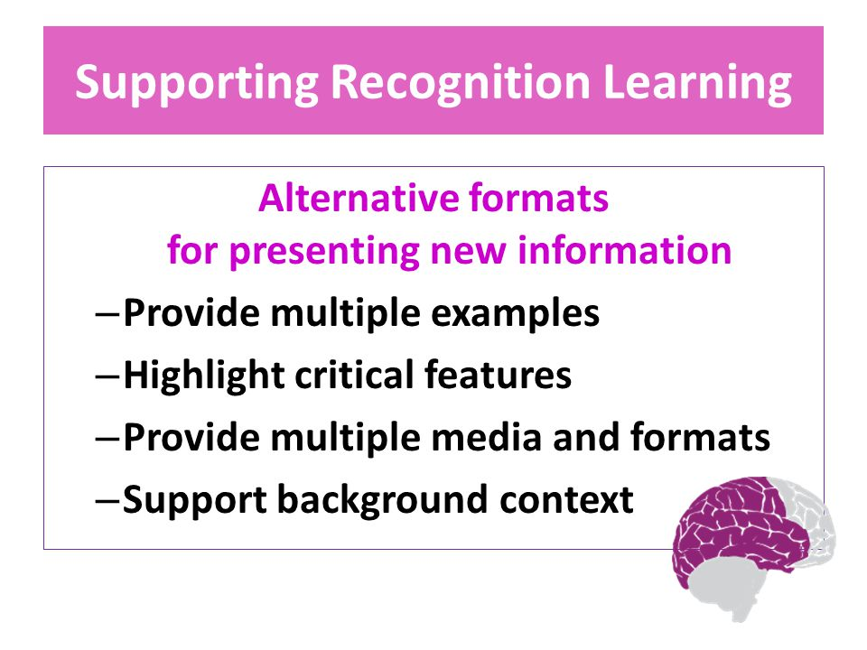 Supporting Recognition Learning Alternative formats for presenting new information – Provide multiple examples – Highlight critical features – Provide