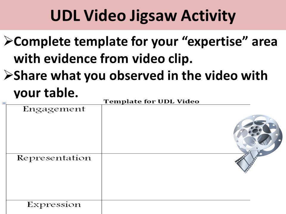 """UDL Video Jigsaw Activity  Complete template for your """"expertise"""" area with evidence from video clip.  Share what you observed in the video with you"""