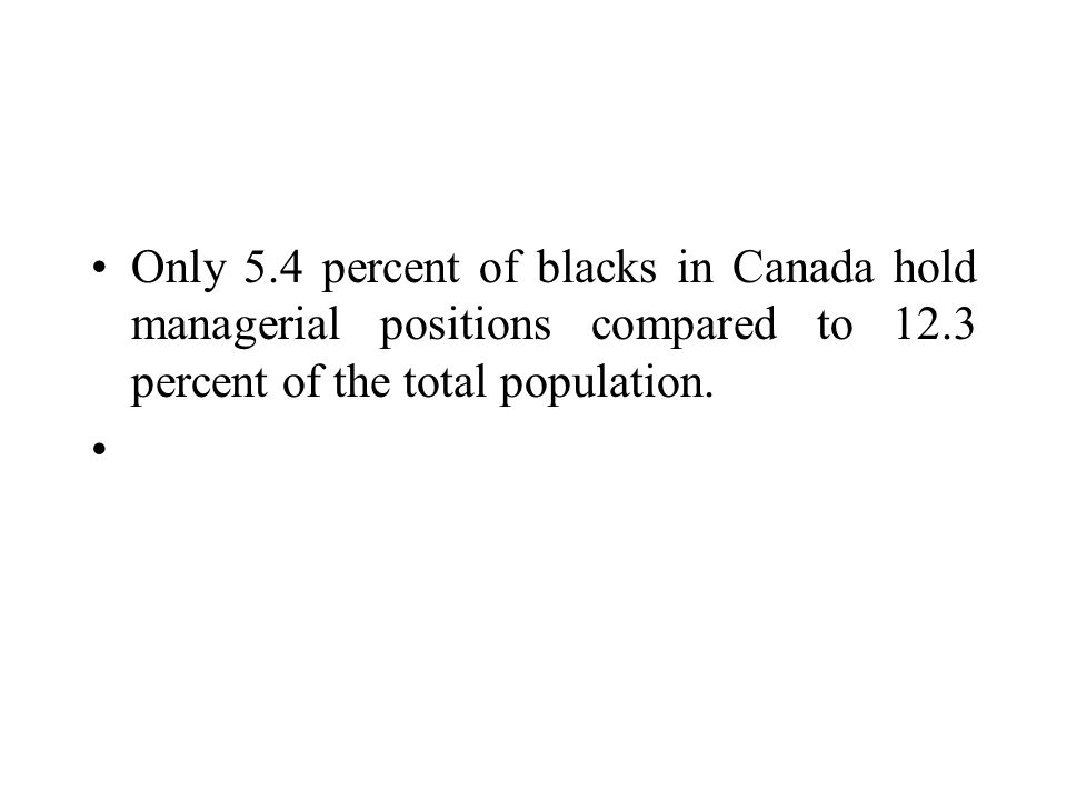Only 5.4 percent of blacks in Canada hold managerial positions compared to 12.3 percent of the total population.
