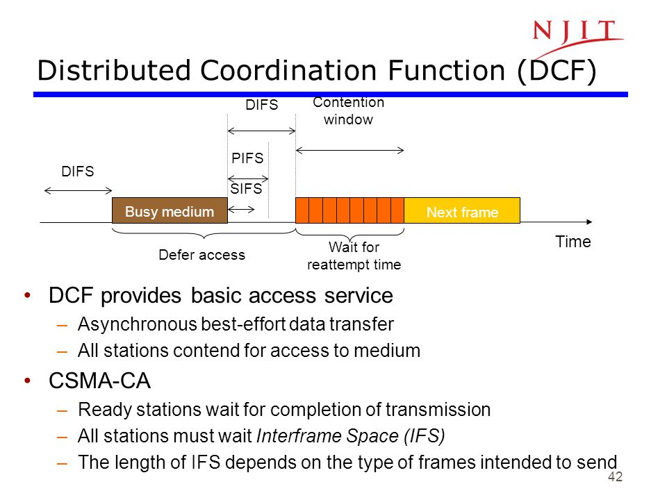 42 Distributed Coordination Function (DCF) DCF provides basic access service –Asynchronous best-effort data transfer –All stations contend for access