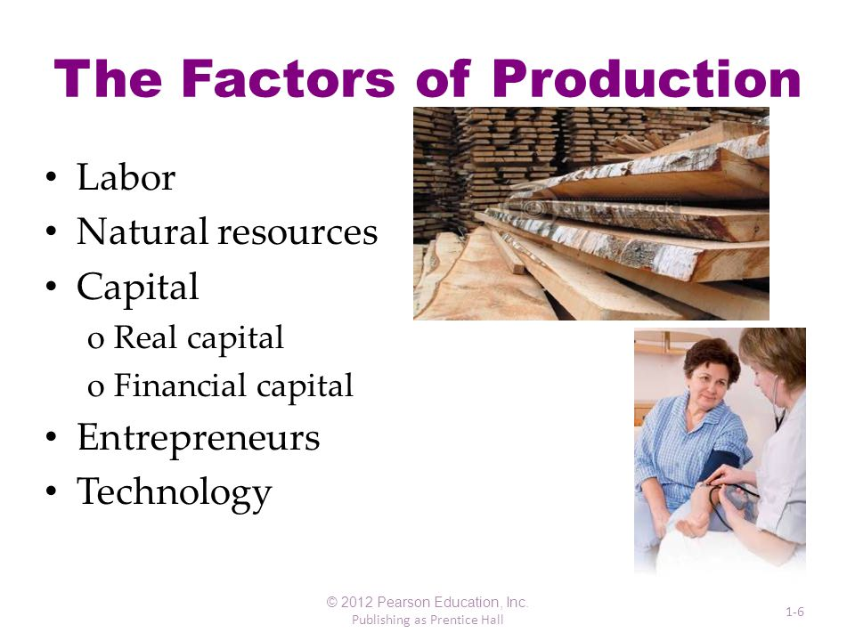 The Factors of Production Labor Natural resources Capital oReal capital oFinancial capital Entrepreneurs Technology © 2012 Pearson Education, Inc.