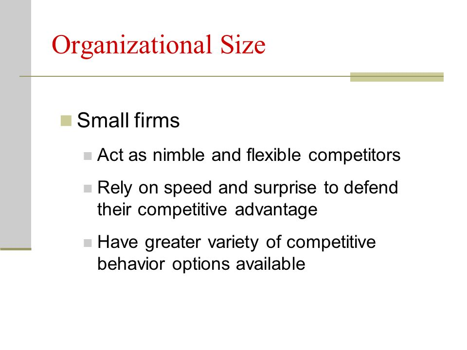 Organizational Size Small firms Act as nimble and flexible competitors Rely on speed and surprise to defend their competitive advantage Have greater v